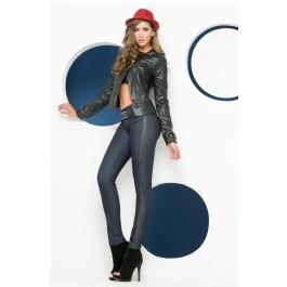 Divina Leather Strip Jeans